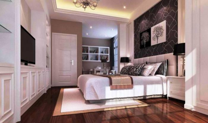 Elegant Black And White Bedroom And Wooden Flooring