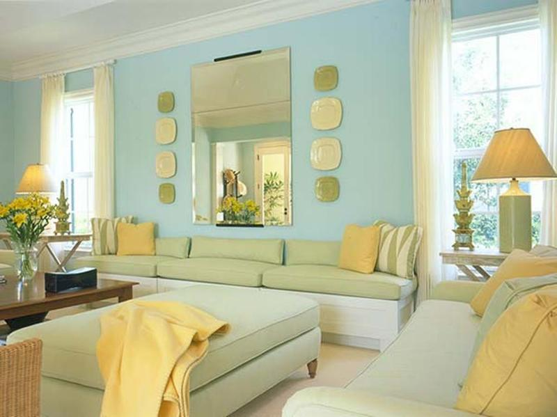 Elegant Blue and Yellow Living Room