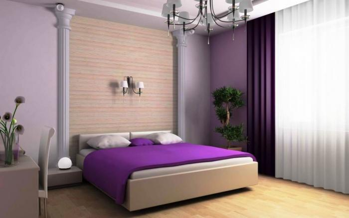 Exciting White And Purple Bedroom With Wooden Floor