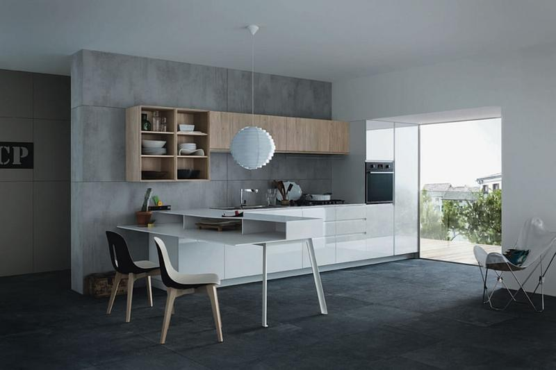 20 Extremely Bold Kitchen Designs With Concrete Wall - Rilane