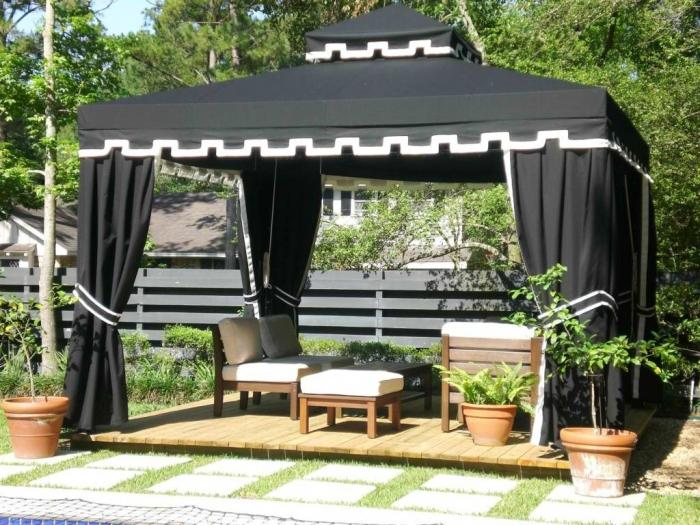 Gothic Fabric Gazebo Canopy With Brown White Table And Chairs