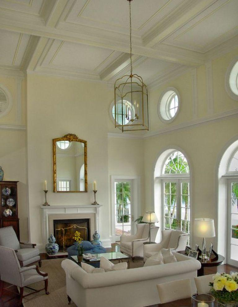 High Ceiling Living Room With Arch Windows