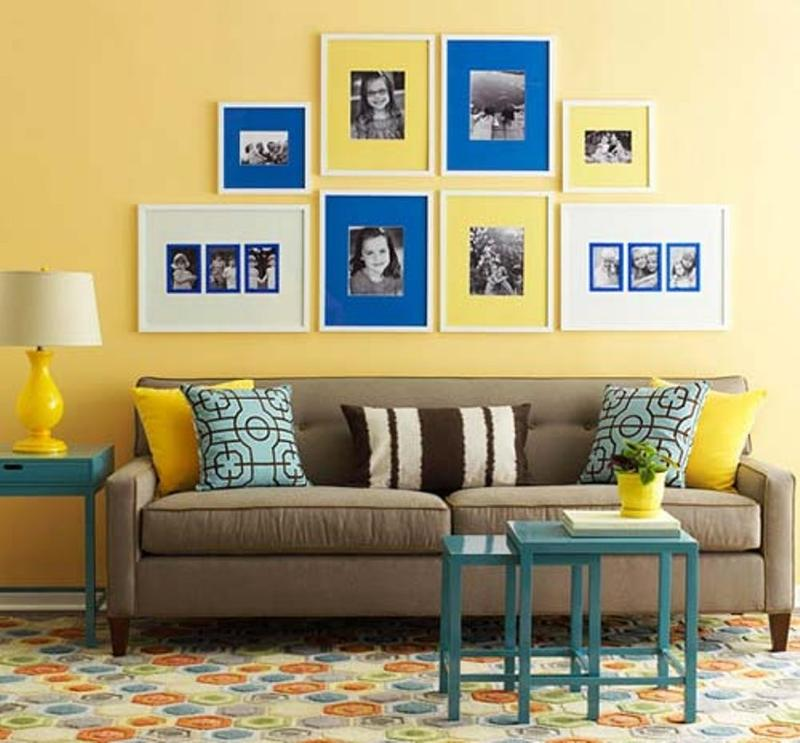 Beau Inviting Yellow And Blue Living Room