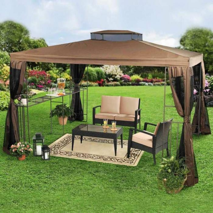 Large Brown Gazebo Canopy Set With Glass Shelf Coffee Table Brown Rug And  Sofa