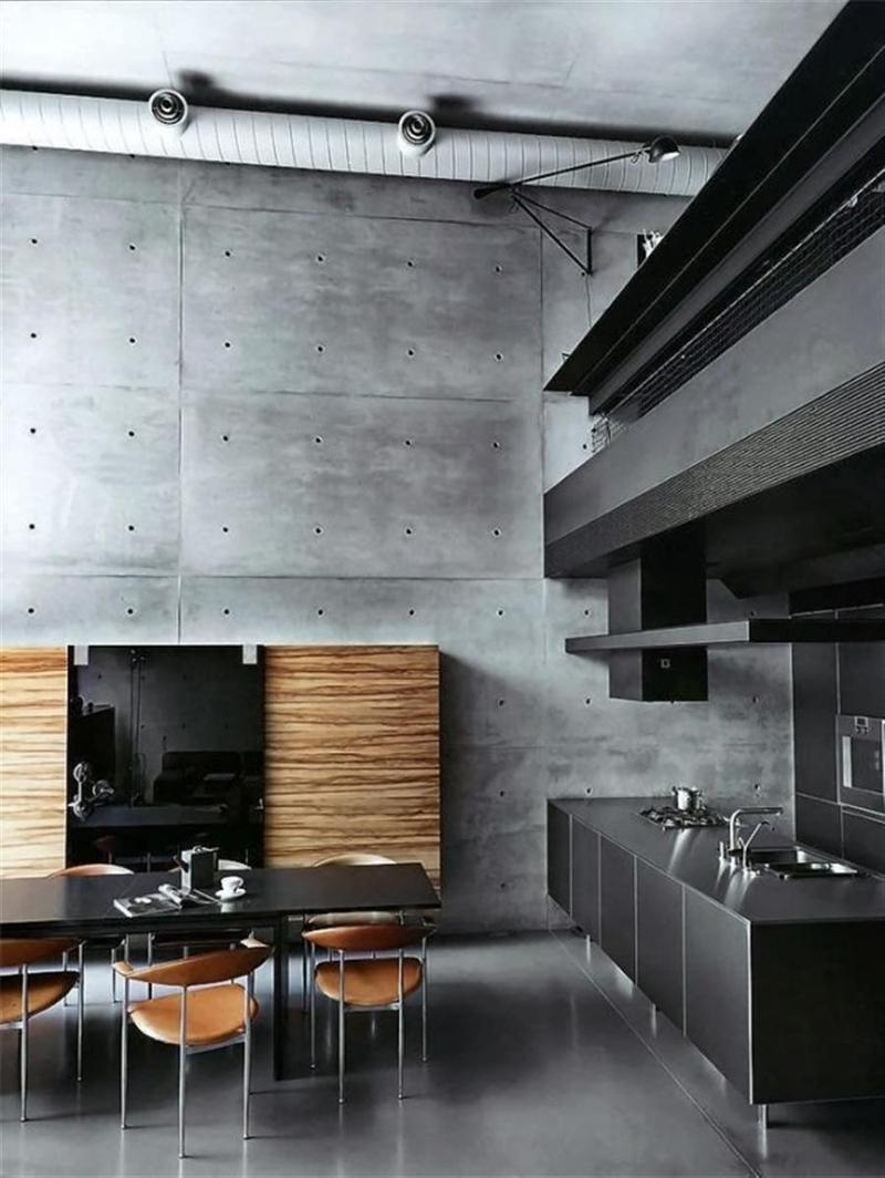 Masculine Kitchen With Concrete Wall