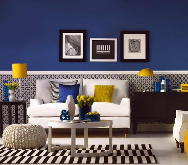 20 charming blue and yellow living room design ideas rilane for Yellow modern living room ideas