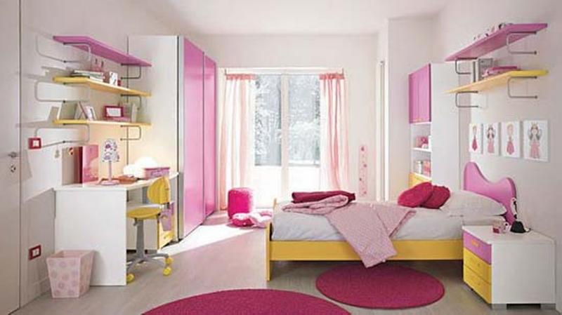 Modern Yellow And Pink Girlu0027s Bedroom