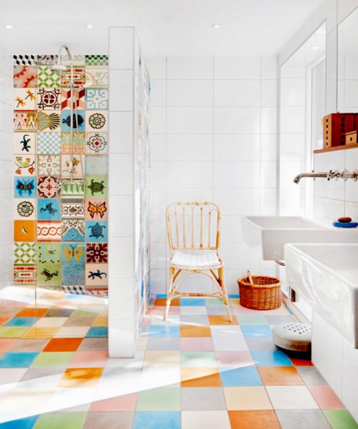vivid bathroom design with multi color tiles - Multi Colored Tile Floor