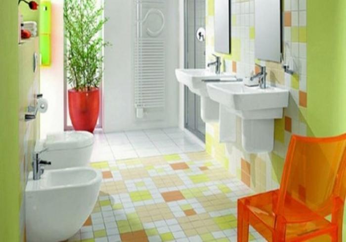 Bright Bathroom Design With Multi Color Tiles