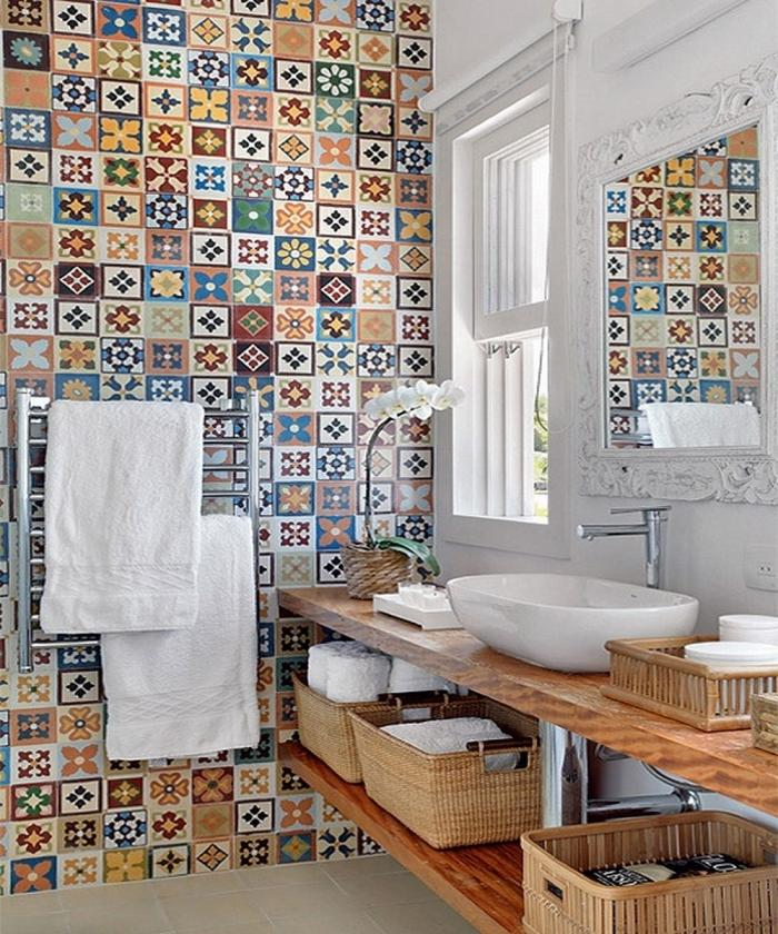 Playful Bathroom Design With Multi Color Tiles