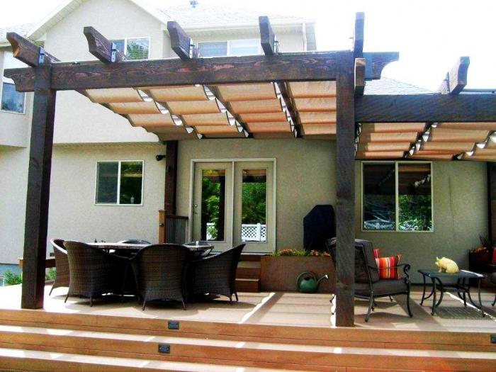 Outstanding Backyard and Home Exterior Decoration Using Mahogany Wood Pergola Wood : wooden garden canopy - memphite.com