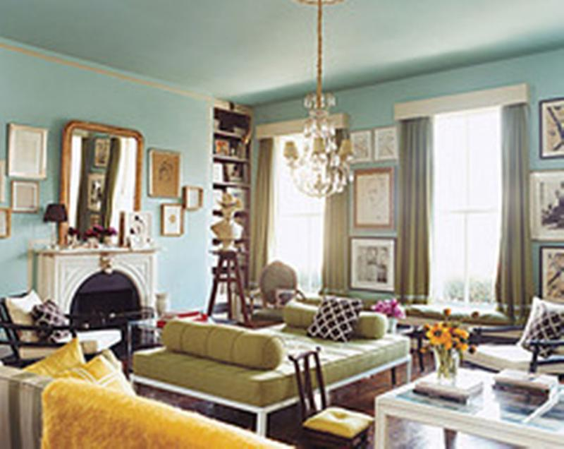 Pastel Blue And Yellow Living Room