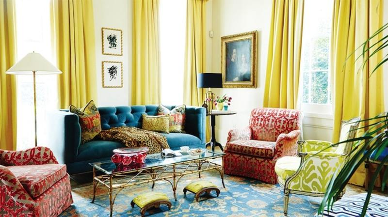 Royal Blue And Yellow Living Room