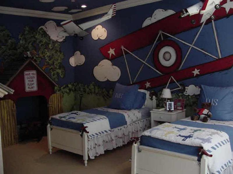 Shared Airplane Themed Boy Bedroom