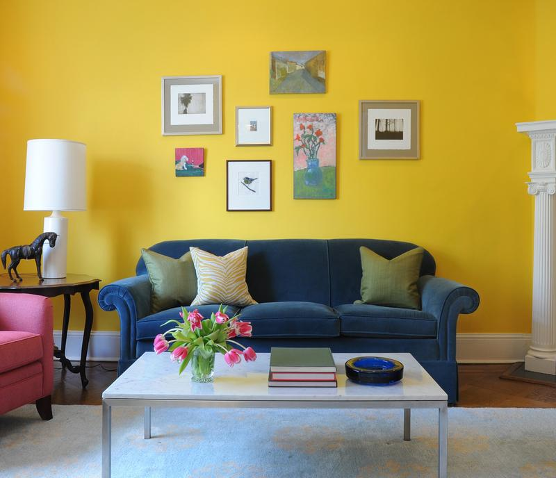 Perfect Sleek Blue And Yellow Living Room