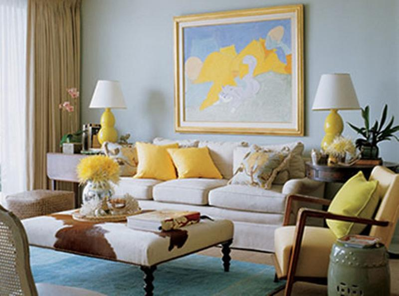 Soft Blue And Yellow Living Room