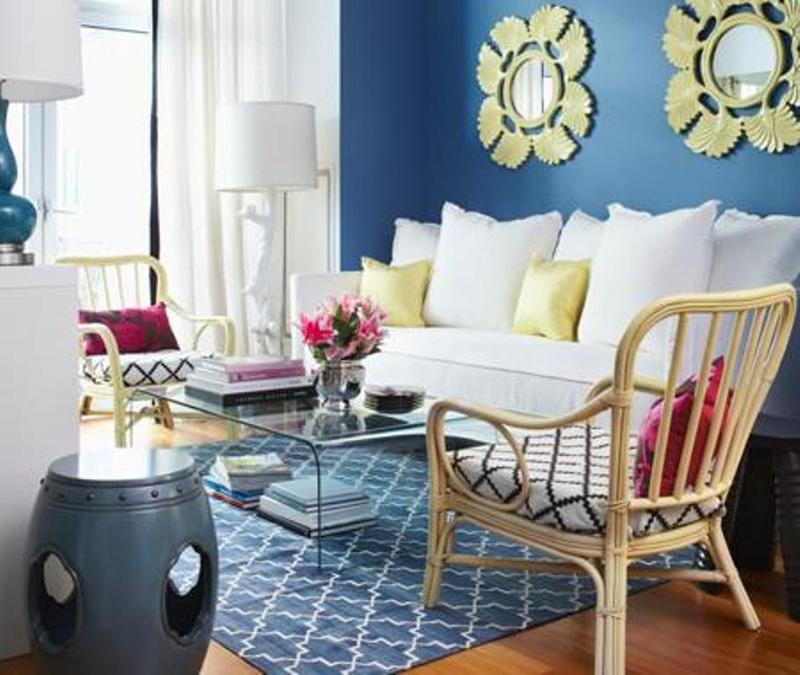 Stylish Blue And Yellow Living Room