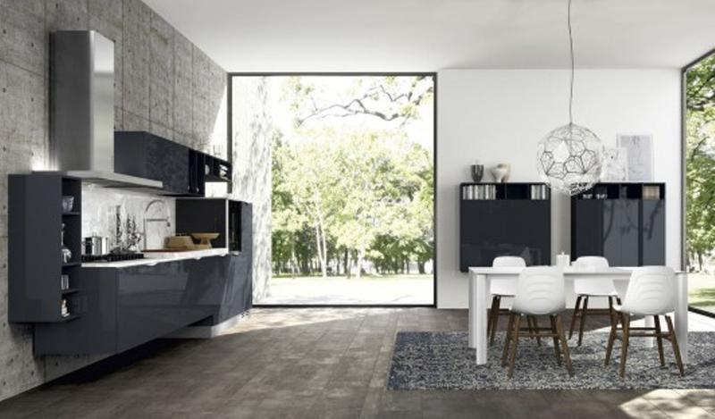super modern kitchen with concrete wall
