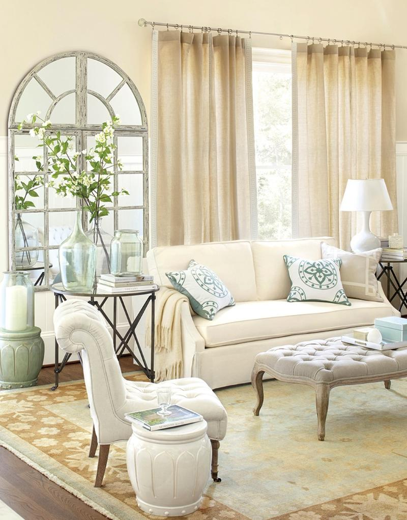 Tranquil Living Room With Arch Windows