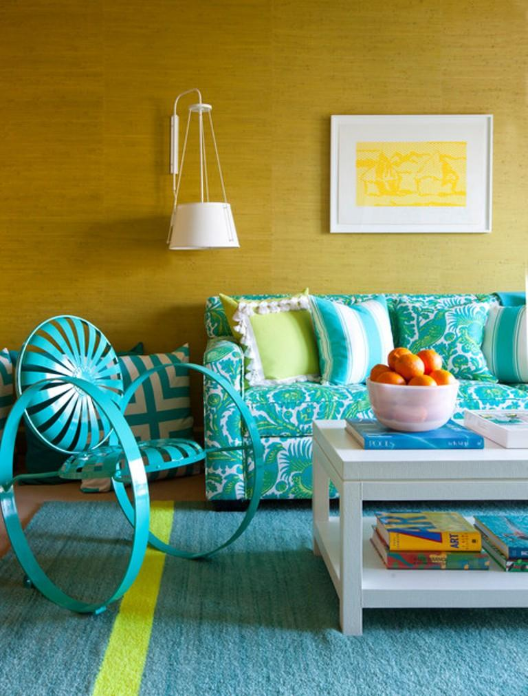 Turquoise And Yellow Living Room Part 45