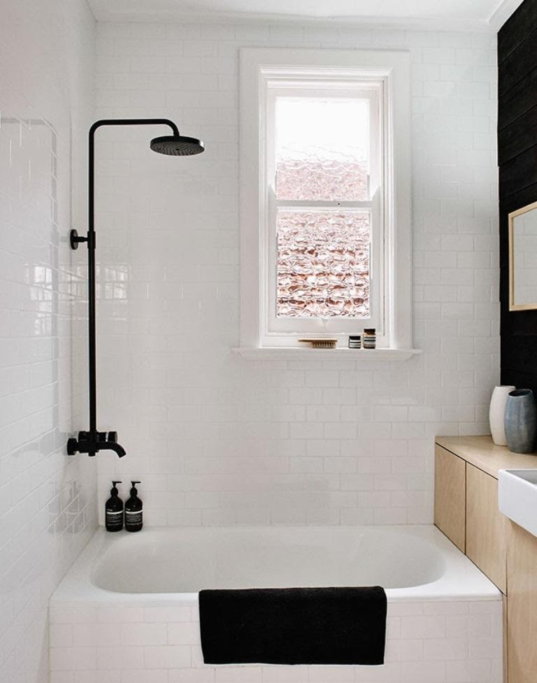 Attractive White And Black Scandinavian Bathroom