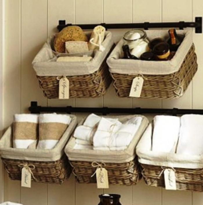 6 bathroom basket storage with label