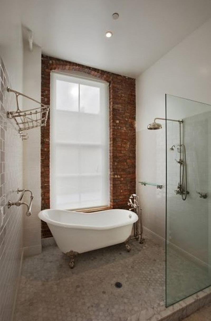 Airy Bathroom with Brick Walls