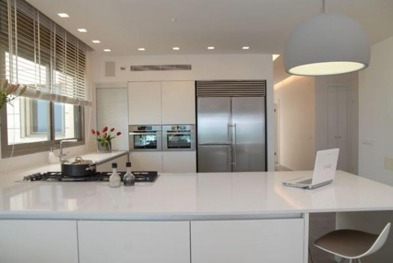 All White L Shaped Kitchen