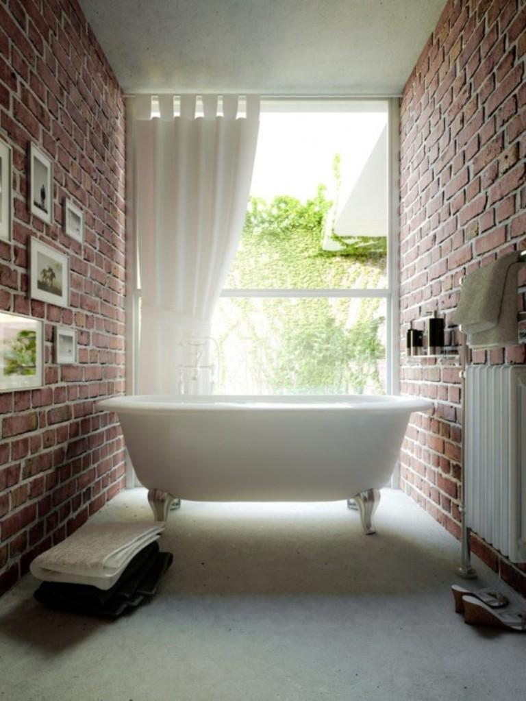 Amazing Bathroom with Brick Walls