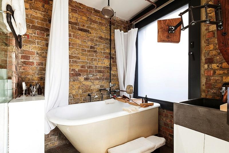 Beautiful Bathroom With Brick Walls