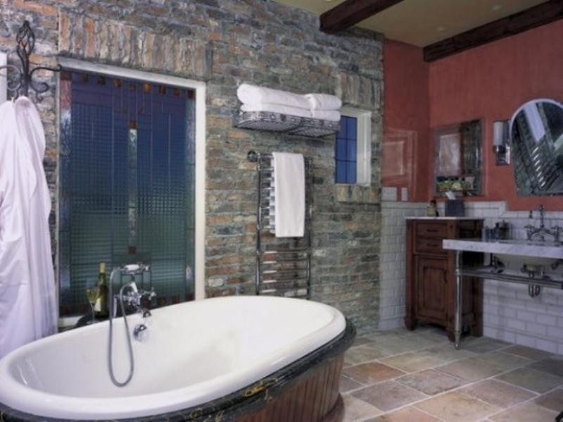 Bohemian Bathroom With Brick Walls Part 49