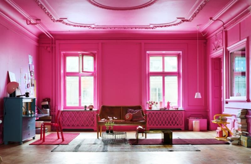 Ordinaire Bold Pink Living Room