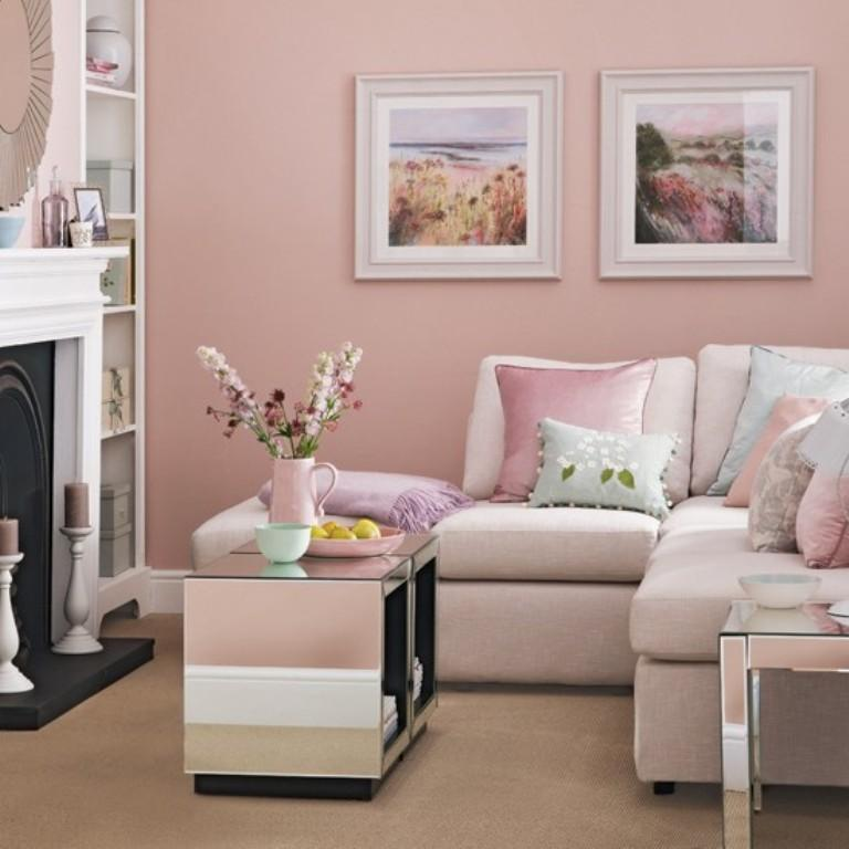Home Design Color Ideas: 30 Extremely Charming Pink Living Room Design Ideas