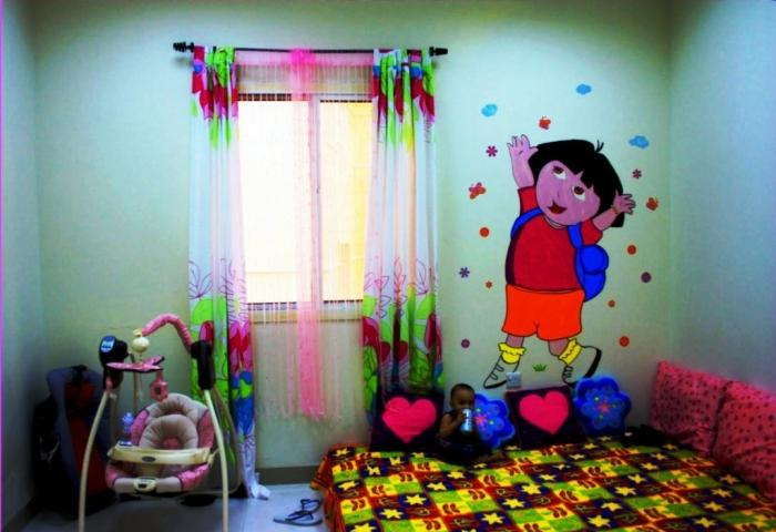 10 fun cartoon character kids bedroom wall decoration rilane for Dora themed bedroom designs