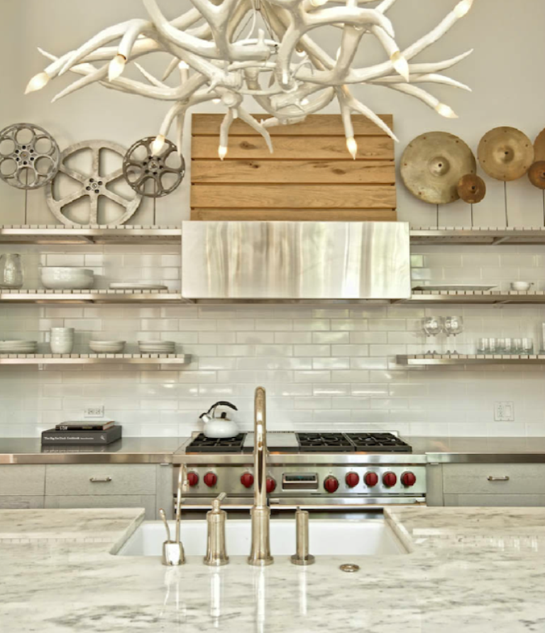 White Kitchen Floating Shelves: 15 Dramatic Kitchen Designs With Stainless Steel Shelves