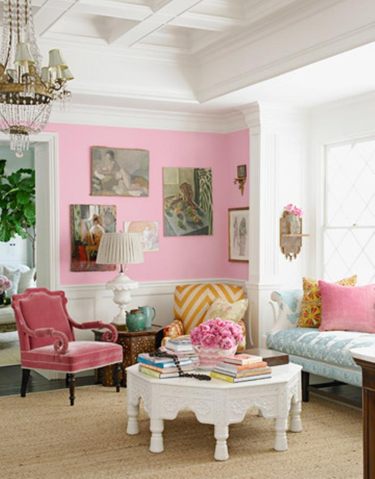 30 Extremely Charming Pink Living Room Design Ideas - Rilane