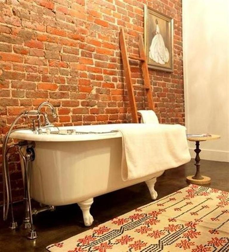 Contemporary Bathroom With Brick Walls