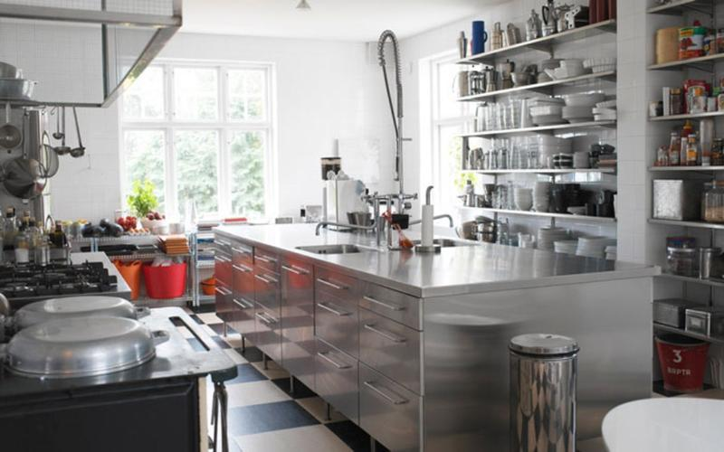 Great Cool Kitchen With Stainless Steel Shelves