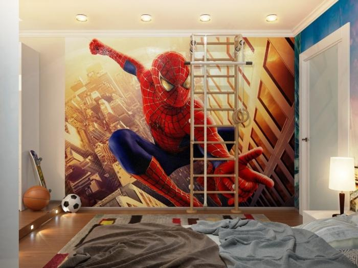 Cool Large And Enormous Spiderman Wall Poster With Wooden Ladders