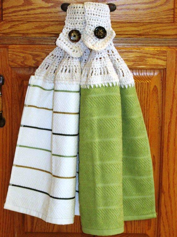 Amazing Crocheted Top Kitchen Hand Towels