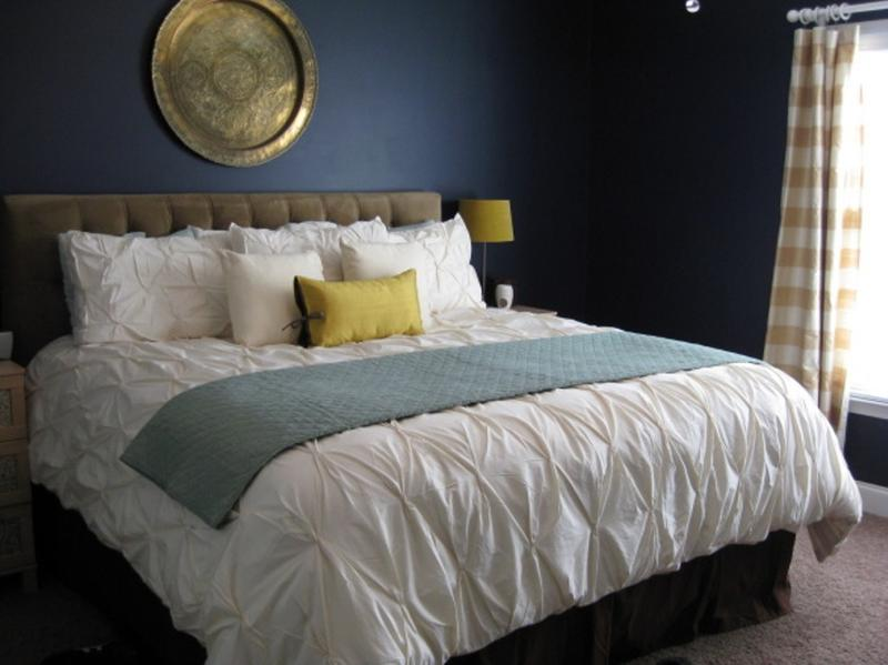 Dramatic Navy Blue Bedroom