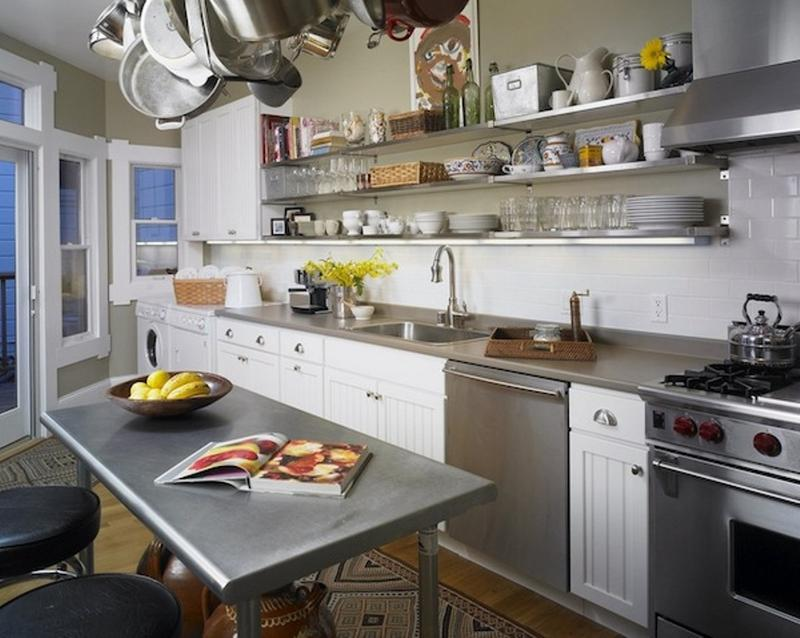 15 dramatic kitchen designs with stainless steel shelves - rilane