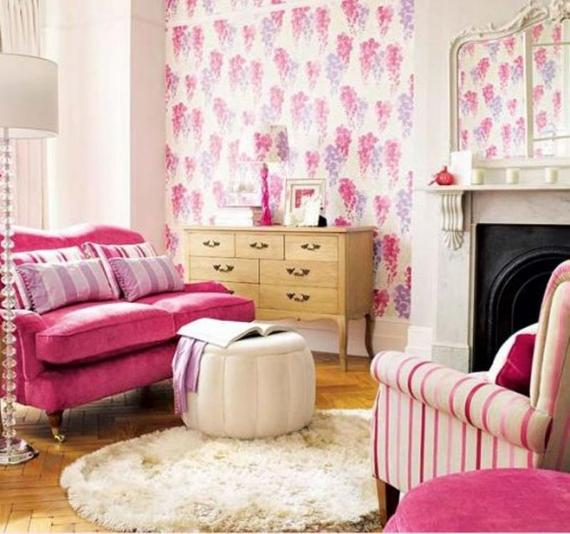 30 extremely charming pink living room design ideas rilane for Pink living room wallpaper