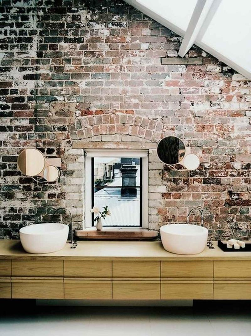Industrial Bathroom With Brick Walls