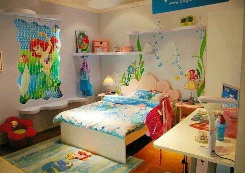 15 dazzling mermaid themed bedroom designs for girls rilane for Toddler girl bedroom ideas