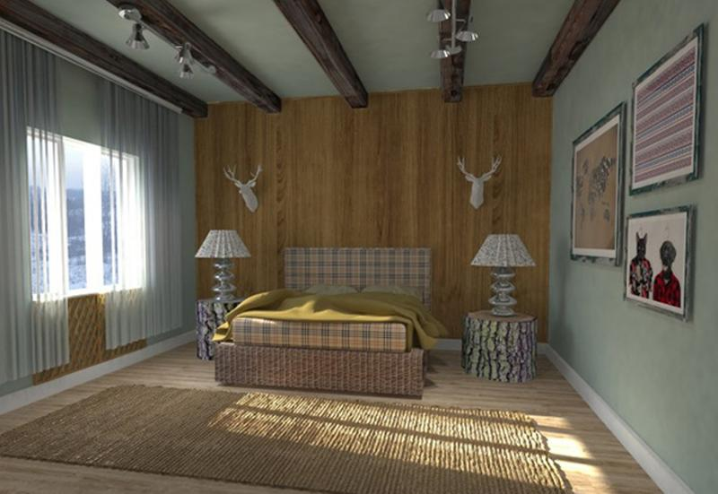 Mid  Century Bedroom With Dark Roof Beams