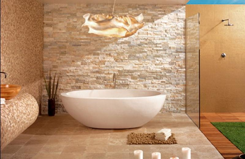 Dashingly contemporary bathroom designs with exposed brick