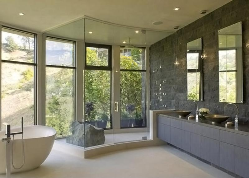 20 Refined Gray Bathroom Design Ideas - Rilane