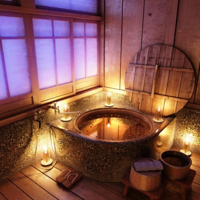 Relaxing Small Wooden Tub With Candle Lights