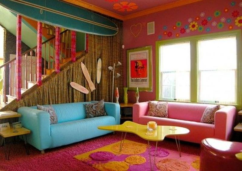Retro Pink Living Room